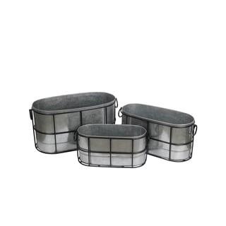 Privilege Black Iron 3-piece Galvanized Containers Set