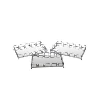 Privilege Silvertone Finish Iron Trays (Pack of 3)
