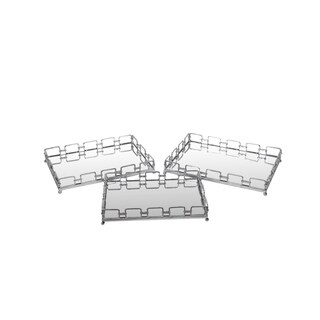 Privilege Silvertone Finish Iron Trays (Pack of 3)