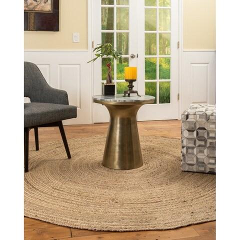 Natural Area Rugs 100% Natural Fiber Handmade Reversible Elsinore Jute 5' Round Rug Beige - 5' x 5'