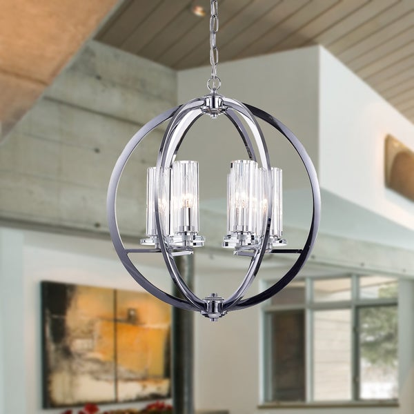 Shop Nithya Chrome 19-inch Round Pendant Light - Free Shipping Today ...