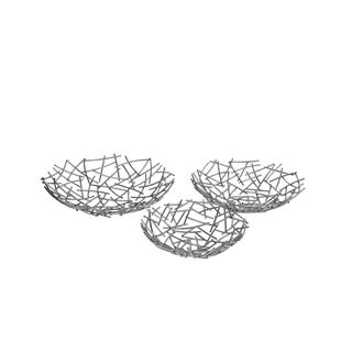 Privilege Silver-tone Metal 3-piece Leaf Design Tray Set