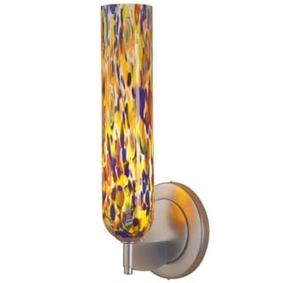 Bruck Lighting Chianti Matte Chrome Brass 1-light Low Voltage Wall Sconce with Mosaic Glass Shade