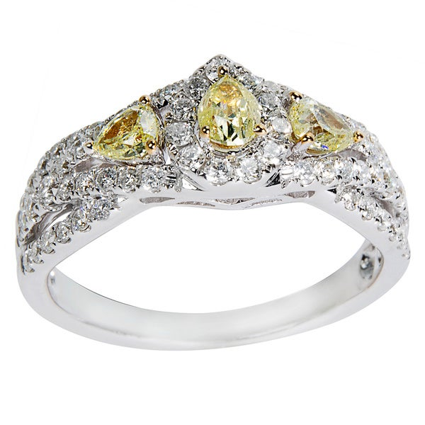14K White Gold 1ct TDW Round White & Fancy Yellow Diamond Engagement Ring (Yellow)