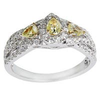 14K White Gold 1ct TDW Round White & Fancy Yellow Diamond Engagement Ring (Yellow)