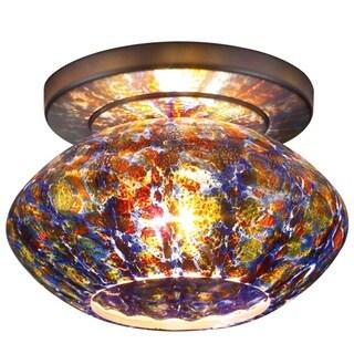 Bruck Lighting Pandora 1-LED Bronze Ceiling Mount with Sapphire Glass Shade