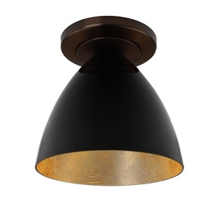 Bruck Lighting Cleo Bronze With Black Outer and Gold Inner Shade 1-LED Ceiling-mount Light