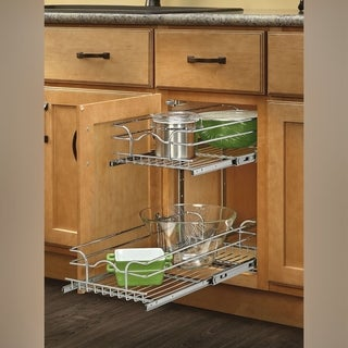 Rev-A-Shelf Chrome 12-inch Pullout 2-tier Wire Basket Cookware Cabinet Organizer