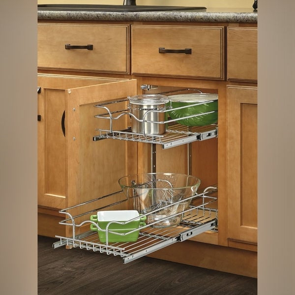 pull out wire shelves for kitchen cabinets shop rev a shelf chrome 12 inch pullout 2 tier wire basket 24997