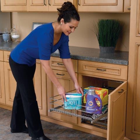 Rev-A-Shelf Chrome 18-inch Pullout 2-tier Wire Basket Cabinet Organizer