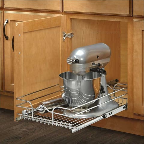 Rev-A-Shelf 5WB Series Chrome-finished Metal Wire 12-inch Single Pull-out Basket