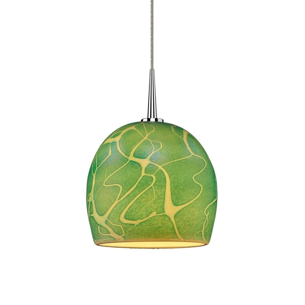 Delta Chrome Seafoam Glass Shade 4-inch Canopy LED Pendant