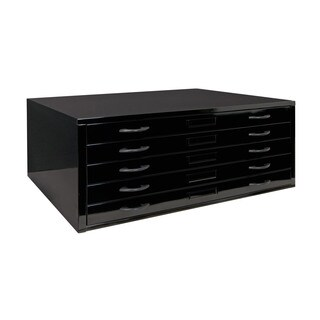 Offex Home Office Flat 46-inch File Cabinet with Slide-Out Drawer - Black