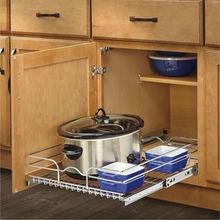 Rev-A-Shelf 5WB Series Chrome Wire 18-inch Single Pull Out Basket