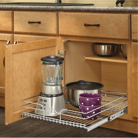 Rev-A-Shelf 5WB Series Chrome Wire 21-inch Single Pull-Out Basket