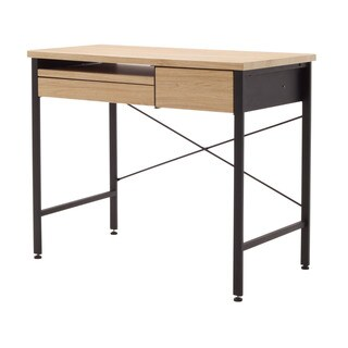 Offex Home Office Ashwood/Graphite Compact Desk With Pen Drawer