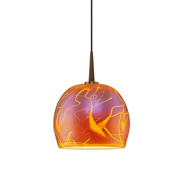 Delta Amber Glass and Bronze Finish Metal 4-inch Canopy 1-LED Pendant Light