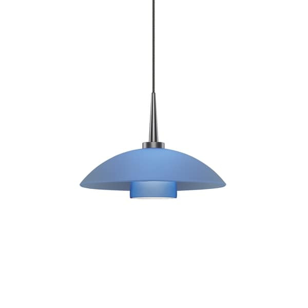 Jas 1-LED Matte Chrome 4-inch Canopy Pendant with Blue Glass Shade