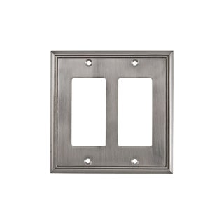 Rok Contemporary Decora Rocker Brushed Nickel Finish Metal 4-27/32-inch x 4-27/32-inch 2-gang GFCI Switch Plate