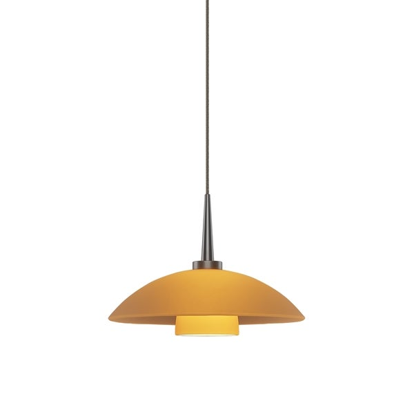 Jas Matte Chrome with Amber Glass Shade 4-inch Canopy 1-LED Pendant