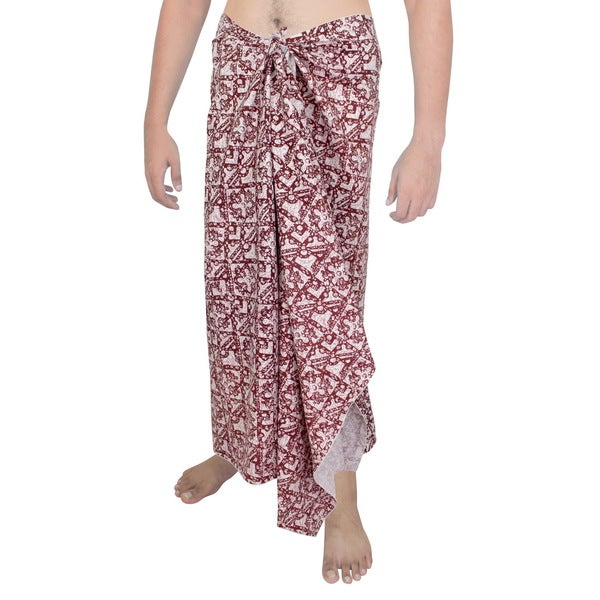 3e533d653769d Shop Men's Red and White Cotton Batik Print Sarong - Free Shipping On  Orders Over $45 - Overstock - 13446503