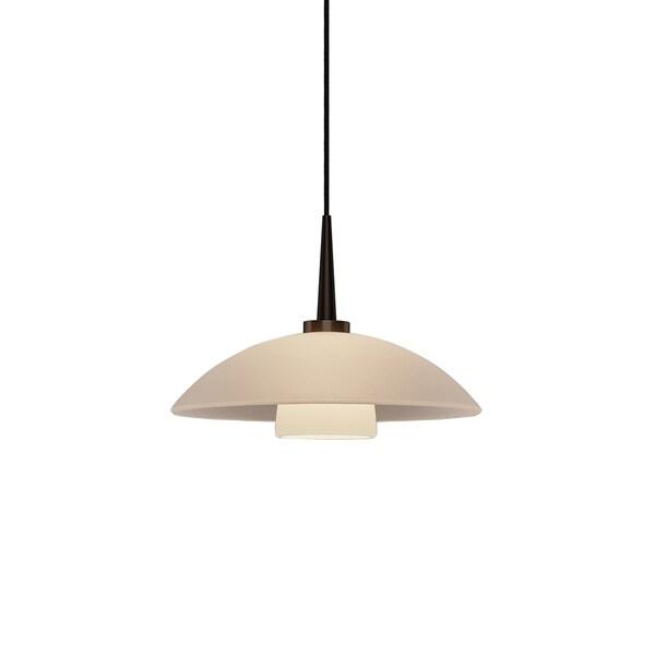 Jas White Glass Bronze Metal 4-inch Canopy 1-LED Pendant Light