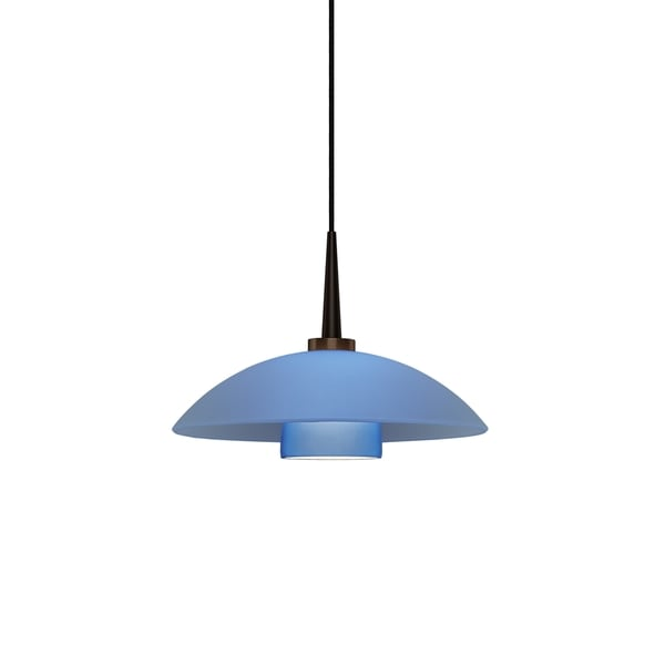 Jas Bronze, Blue Gla ss 4-inch Canopy 1-LED Pendant Light