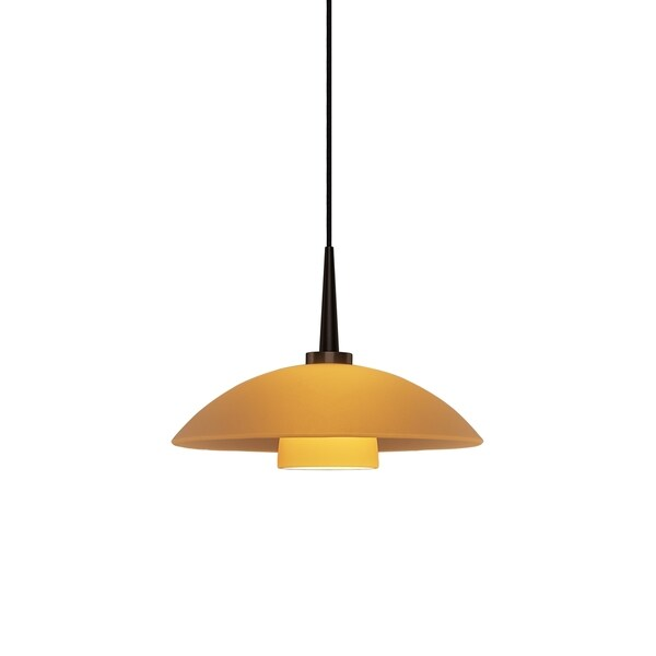 Bruck Lighting Jas 1-LED 4-inch Canopy Bronze Pendant with Amber Glass Shade
