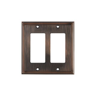 Rok Hardware Decora/Rocker Oil-rubbed Bronze Metal 2-gang GFCI Switch Plate