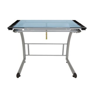 Offex Sit to Stand Up Adjustable Angle Triflex Drawing Table - Silver/Blue Glass