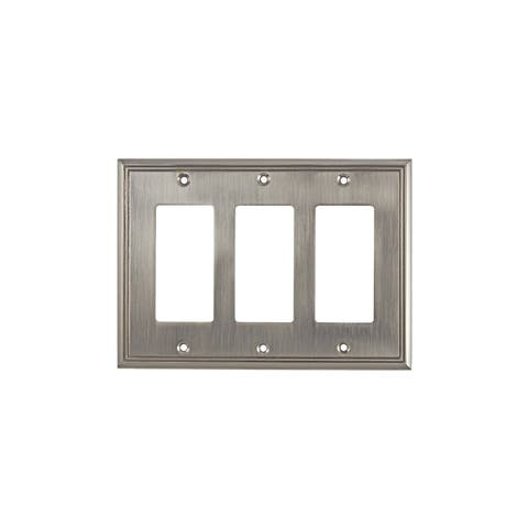 Rok Brushed-nickel 3-gang Contemporary Decora Rocker GFCI Switch Plate