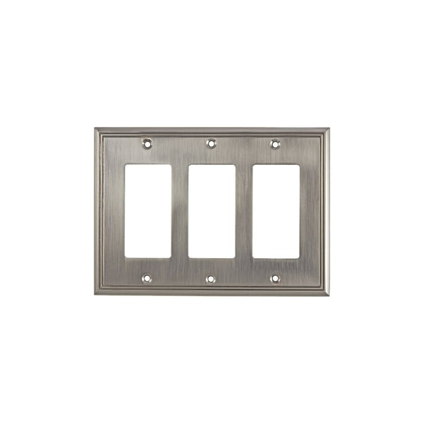 Rok Brushed Nickel 3 Gang Contemporary Decora Rocker Gfci Switch Plate