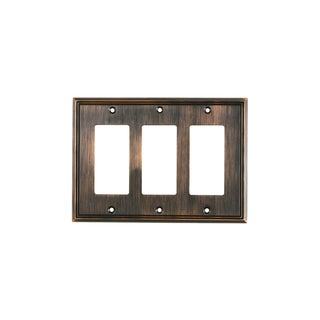 Rok Decora Oil-rubbed Bronze Metal 3-gang Rocker GFCI Contemporary Switch Plate