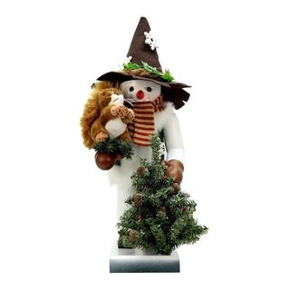 Alexander Taron Snowman With Squirrel Christian Ulbricht Multicolor Wood Nutcracker