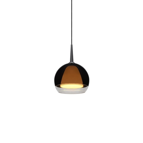 Matrix 1-LED 4-inch Canopy Matte Chrome Pendant with Smoky Metal Glass Shade