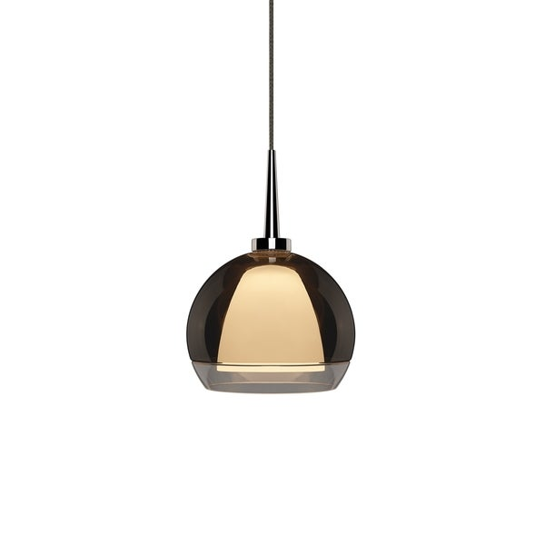 Matrix 1-LED 4-inch Canopy Chrome Pendant with Smoky Metal Glass Shade