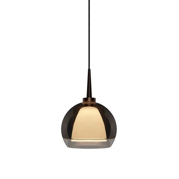 Bruck Lighting Matrix Bronze and Smokey Glass 4-inch Canopy 1-LED Pendant