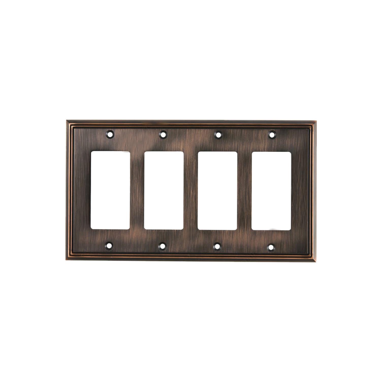 Rok Decora Oil-rubbed Bronze 4-gang Rocker GFCI Contemporary Switch Plate