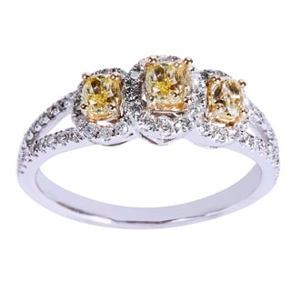 14KT White Gold 1ct TDW Round White & Fancy Yellow Diamond 3-Stone Engagement Ring (Yellow)