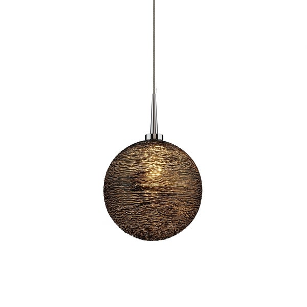 Dazzle 2 Black Glass and Chrome Metal 4-inch Canopy 1-LED Pendant Light