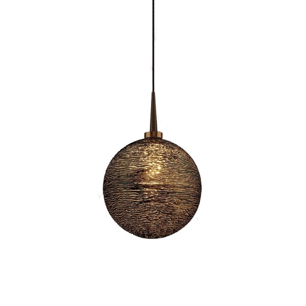 Dazzle 2 Bronze 4-inch Canopy 1-LED Pendant with Black Glass Shade