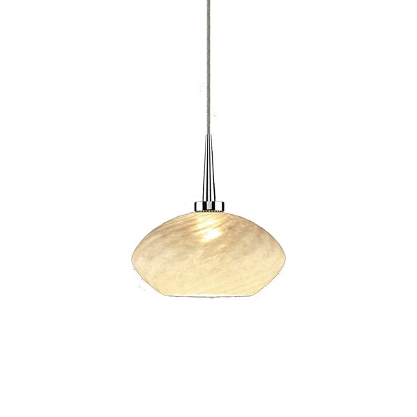 Chrome Metal and Opaline Glass 1-LED 4-inch Canopy Pendant