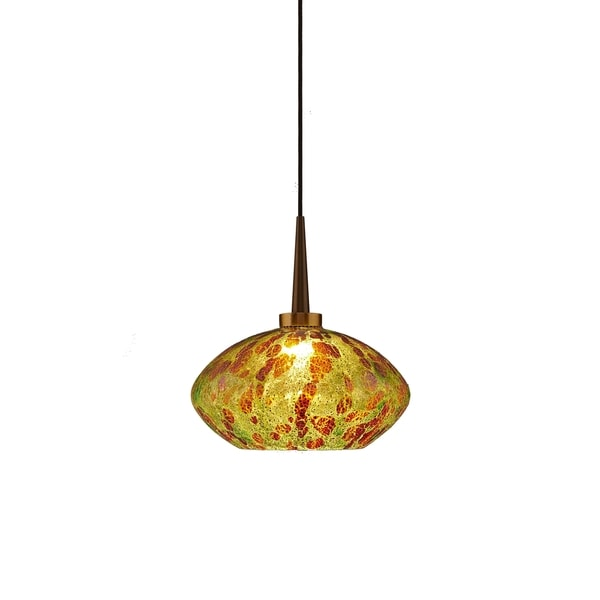Pandora Bronze Metal 1-LED 4-inch Canopy Pendant with Glass Shade