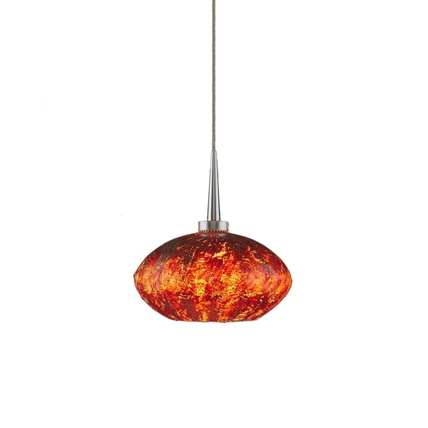 Bruck Lighting Pandora 1-LED 4-inch Canopy Matte Chrome Pendant with Garnet Glass Shade