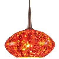 Pandora 1-LED 4-inch Canopy Bronze Pendant with Garnet Glass Shade