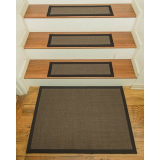 "Handcrafted Big Sur Sisal Carpet Stair Treads with Landing Mat 9"" x 29"" (Set of 13)"