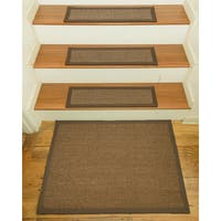 "Handcrafted Sandstone Sisal Carpet Stair Treads with Landing Mat 9"" x 29"" (Set of 13)"