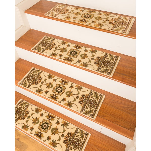 Handcrafted Sherwood Carpet Cream Stair Treads (Set Of 13) ...
