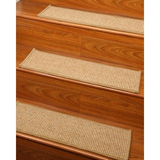 "Handcrafted Soho Sisal Stair Treads 9"" x 29"" Serged Border (Set of 13)"