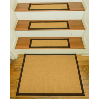 "Handcrafted Zamora Sisal Carpet Stair Treads with Landing Mat 9"" x 29"" (Set of 13)"